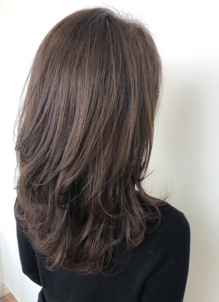 ラベンダーグレーの艶髪カラー アフター