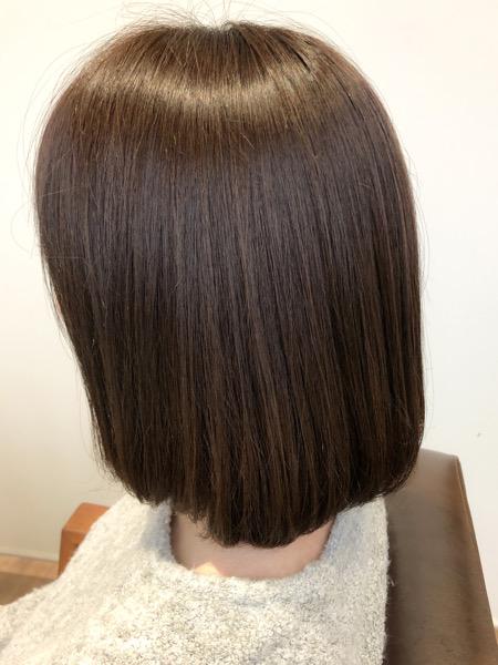 大分県別府市 オッジィオットトリートメント効果でアッシュベージュの艶髪 アフター 横