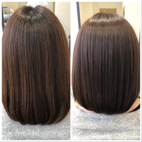 大分県別府市 オッジィオットトリートメント効果でアッシュベージュの艶髪 ビフォーアフター