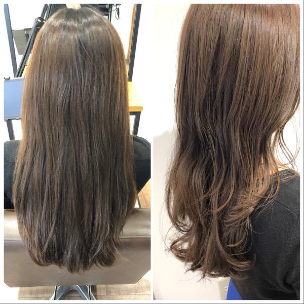 大分県別府市 ハイトーンのヘアカラーでもオッジィオットとの組み合わせで艶髪カラー ビフォーアフター