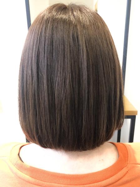 大分県別府市 透明感のある艶髪ベージュのヘアカラー アフター
