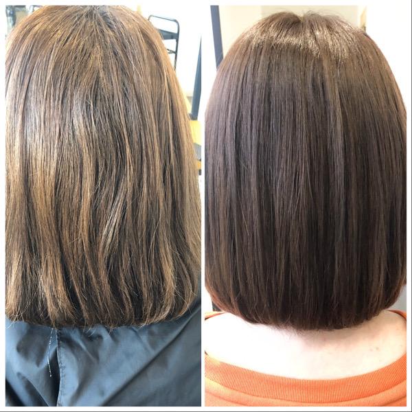 大分県別府市 透明感のある艶髪ベージュのヘアカラー ビフォーアフター