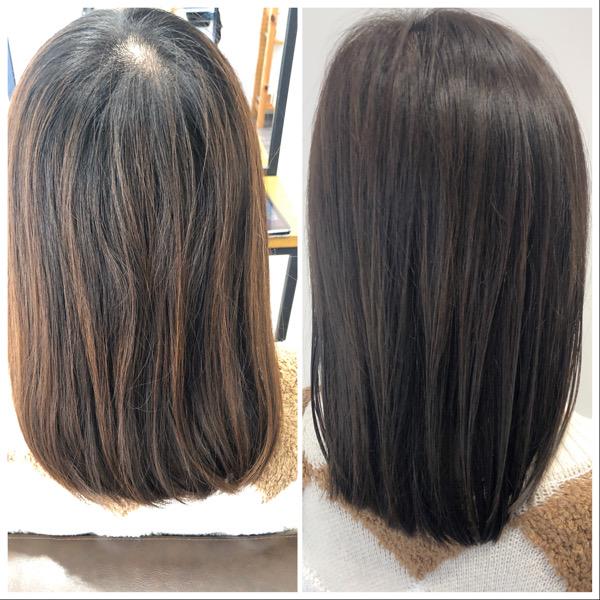 大分県別府市 カーキグレージュの艶髪ヘアカラー ビフォーアフター