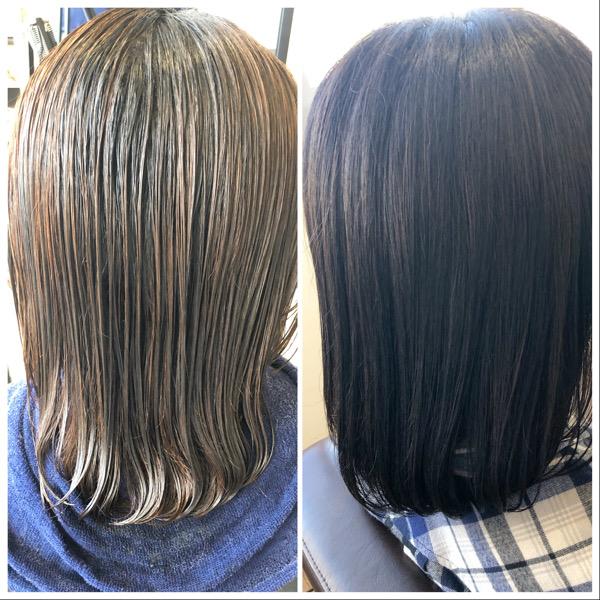 大分県別府市 髪の毛がオレンジっぽくなるのが嫌な方にオススメのヘアカラー アッシュグレーの艶髪ヘアカラー ビフォーアフター