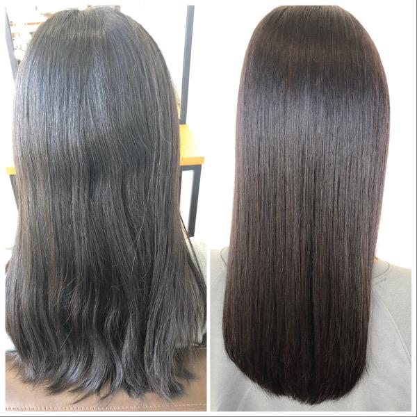 大分県別府市 自然な縮毛矯正でサラサラな髪質改善ストレート ビフォーアフター