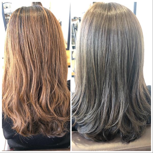大分県別府市 明るく抜けた髪の毛をカーキグレージュの艶髪ヘアカラーに ビフォーアフター
