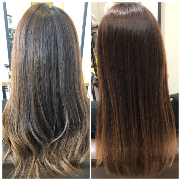 大分県別府市 くせ毛で広がる髪の毛を髪質改善な縮毛矯正で収まりのよい髪の毛に  ビフォーアフター