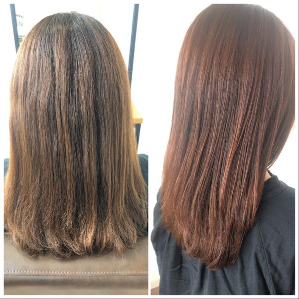 大分県別府市 ボリュームが出て広がる髪の毛をストカールでボリュームダウンして自然なワンカールに ビフォーアフター