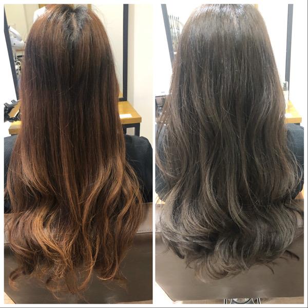 大分県別府市 ムラ染めでオレンジみがある髪の毛をダークネイビーアッシュの暗髪ヘアカラーに ビフォーアフター