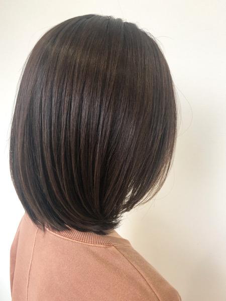 大分県別府市 産後なかなか美容室に行けずボサボサになった髪の毛を艶髪カラーとトリートメントでサラサラな艶髪ヘアーに アフター