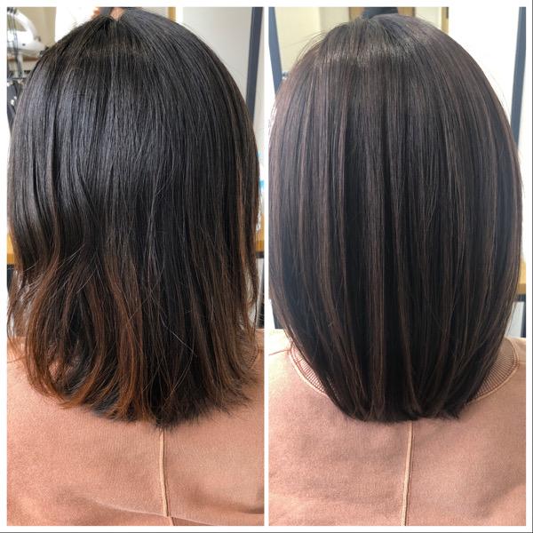 大分県別府市 産後なかなか美容室に行けずボサボサになった髪の毛を艶髪カラーとトリートメントでサラサラな艶髪ヘアーに ビフォーアフター