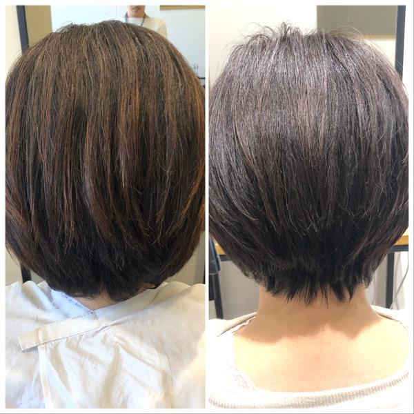 大分県別府市 くせ毛、多毛で膨らむ髪の毛をカットだけでボリュームを抑える方法 ビフォーアフター