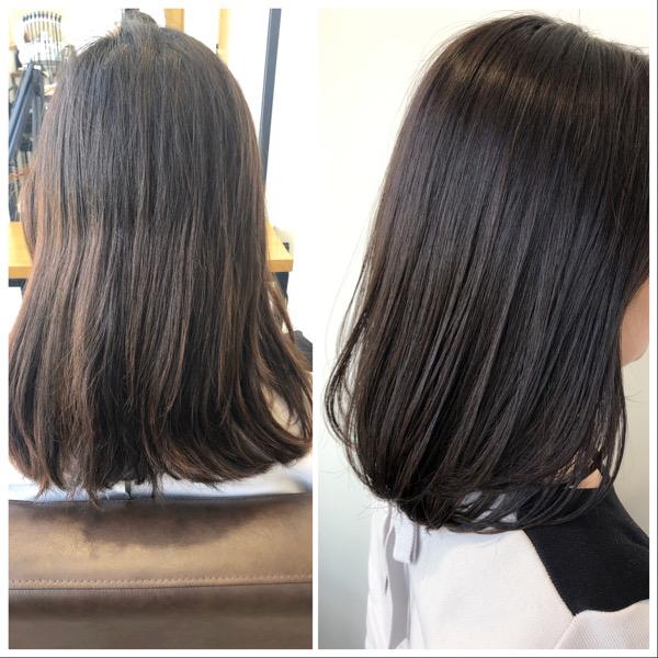 大分県別府市 黒っぽいけど黒じゃないヘアカラー『ダークグレー』の黒髪風カラー ビフォーアフター