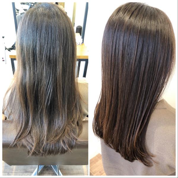 大分県別府市 ワンカールのストカールで上品なツヤ髪スタイル ビフォーアフター