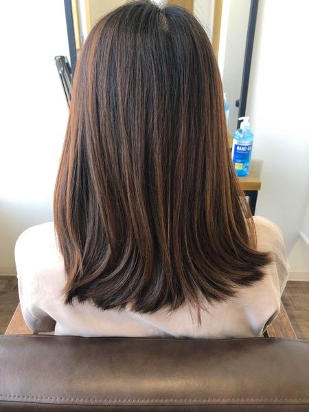 大分県別府市 色落ちも楽しめる!【ネイビーグレージュ】の艶髪カラー ビフォー