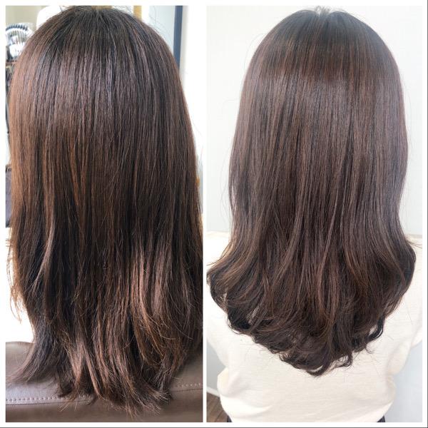 大分県別府市 くせ毛でボリュームの出やすい髪の毛をストカールでゆるーいパーマ風スタイル ビフォーアフター