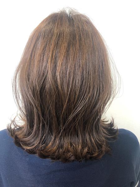 大分県別府市 透け感のある透明感ベージュの艶髪カラー アフター