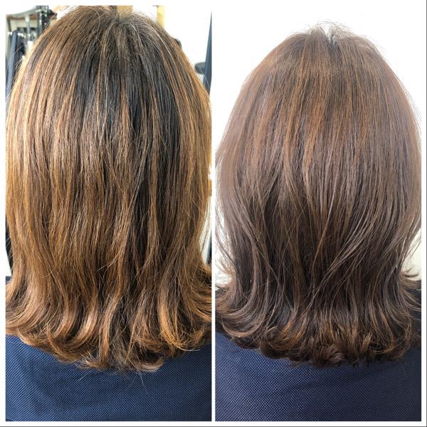 大分県別府市 透け感のある透明感ベージュの艶髪カラー ビフォーアフター