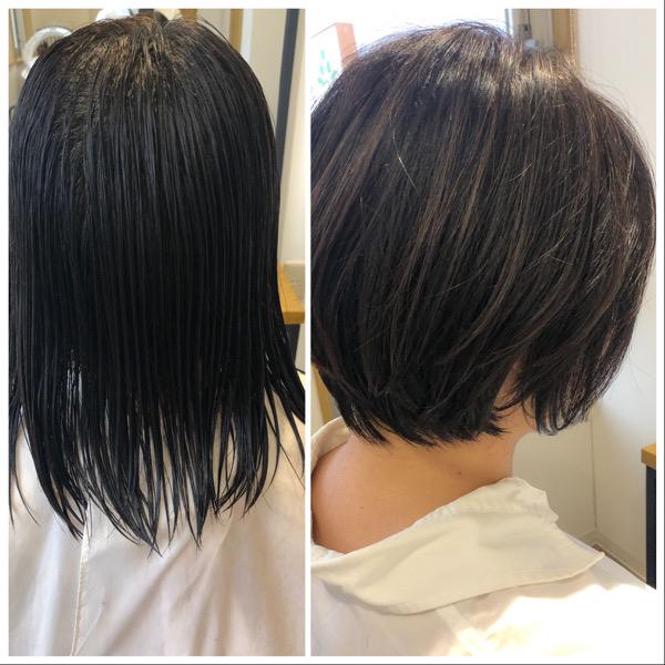 大分県別府市 コロナ自粛もあり美容室に行けず伸びた髪の毛をばっさりカット ビフォーアフター
