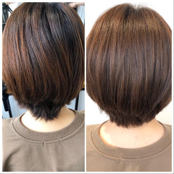 大分県別府市 髪の毛が柔らかく見えるベージュ系ヘアカラー ビフォーアフター