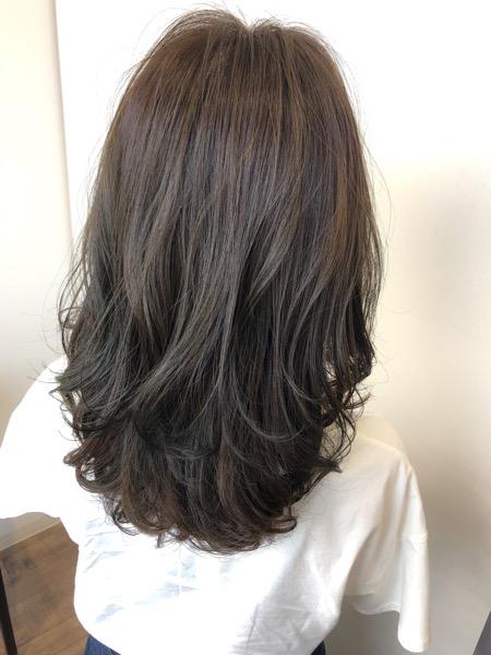 大分県別府市 透明感のある透け髪ヘアカラー【アッシュグレージュ】夏にオススメ! アフター