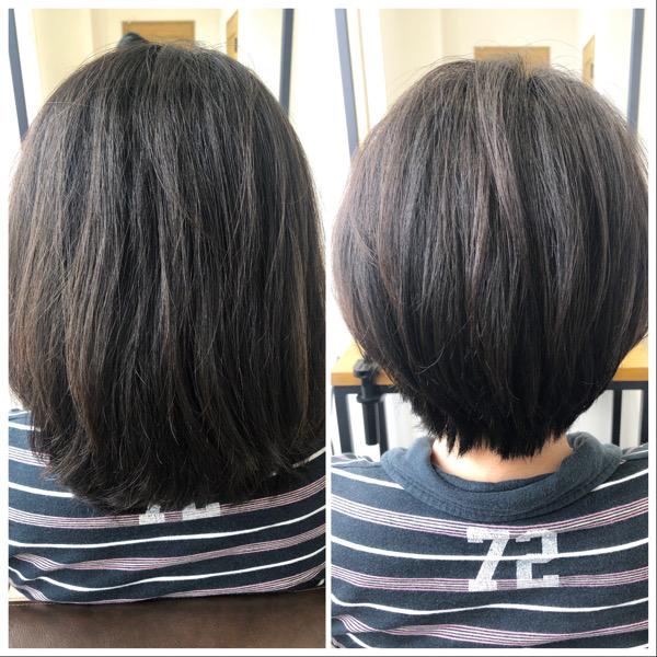 大分県別府市 自然な縮毛矯正で膨らむ髪の毛をボリュームダウン ビフォーアフター