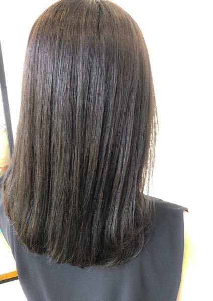 大分県別府市 ヘアカラーが明るく抜けやすい方へ〜暗めでも透明感のあるダークアッシュグレージュの髪色 アフター