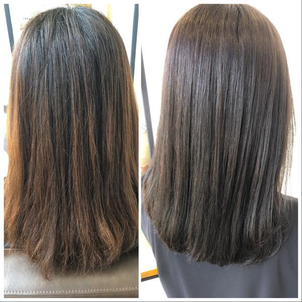 大分県別府市 ヘアカラーが明るく抜けやすい方へ〜暗めでも透明感のあるダークアッシュグレージュの髪色 ビフォーアフター