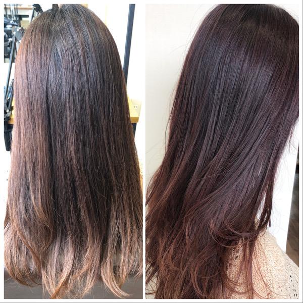 大分県別府市 白髪もしっかり染めてローズピンクの髪色【イルミナカラー】 ビフォーアフター