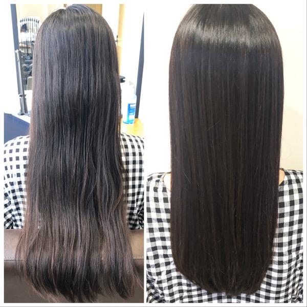大分県別府市 髪の毛のダメージが少ない酸性の縮毛矯正でサラサラヘアー ビフォーアフター