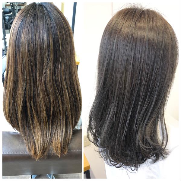 大分県別府市 キンキンに明るくなった髪の毛を暗めのアッシュグレージュに ビフォーアフター