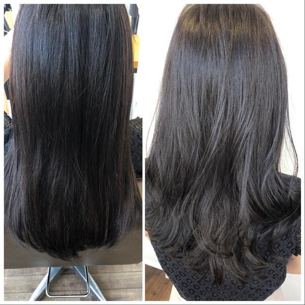 大分県別府市 暗めカラーでも透明感のある髪色【スモーキーマットベージュ】 ビフォーアフター