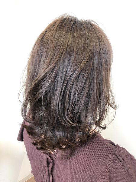 大分県別府市 色落ちしても黄色っぽい髪になりにくい ラベンダーベージュのヘアカラー アフター