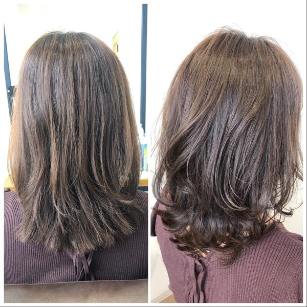 大分県別府市 色落ちしても黄色っぽい髪になりにくい ラベンダーベージュのヘアカラー ビフォーアフター