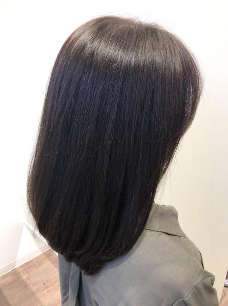 大分県別府市 明るくなった髪の毛から暗めのカーキグレージュにトーンダウン アフター