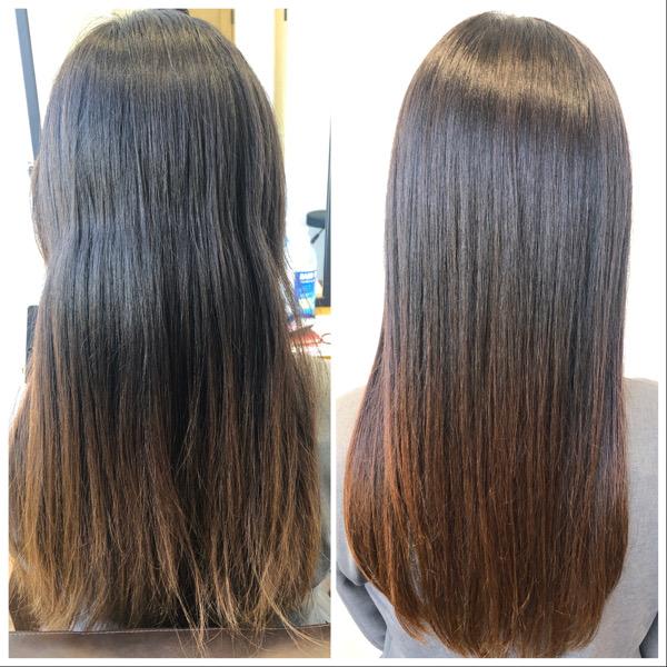 大分県別府市 今までとは違う弱酸性の縮毛矯正でトリートメントをしたような髪の毛へ ビフォーアフター