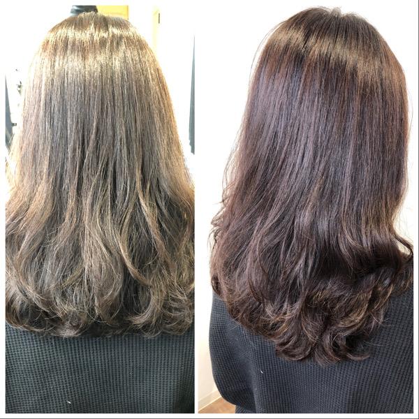 大分県別府市 オッジィオットトリートメントを使ったラベンダーアッシュの艶髪カラー【ブリーチなし】 ビフォーアフター