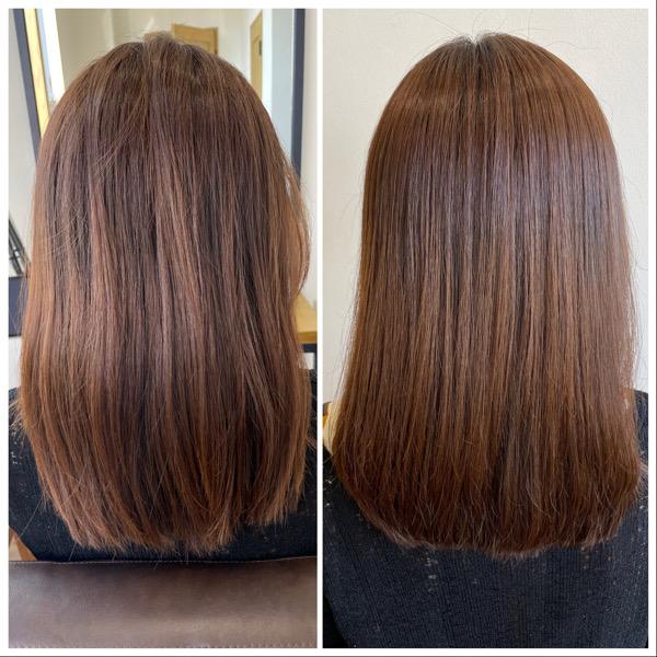 大分県別府市 弱酸性の縮毛矯正とオッジィオットトリートメントでサラサラなツヤ髪 ビフォーアフター