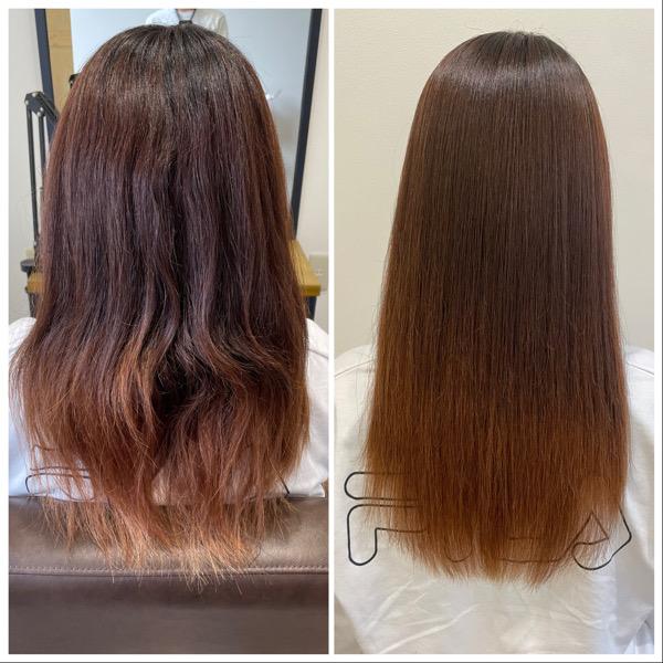 大分県別府市 髪質改善のサラサラな縮毛矯正ストレート ビフォーアフター