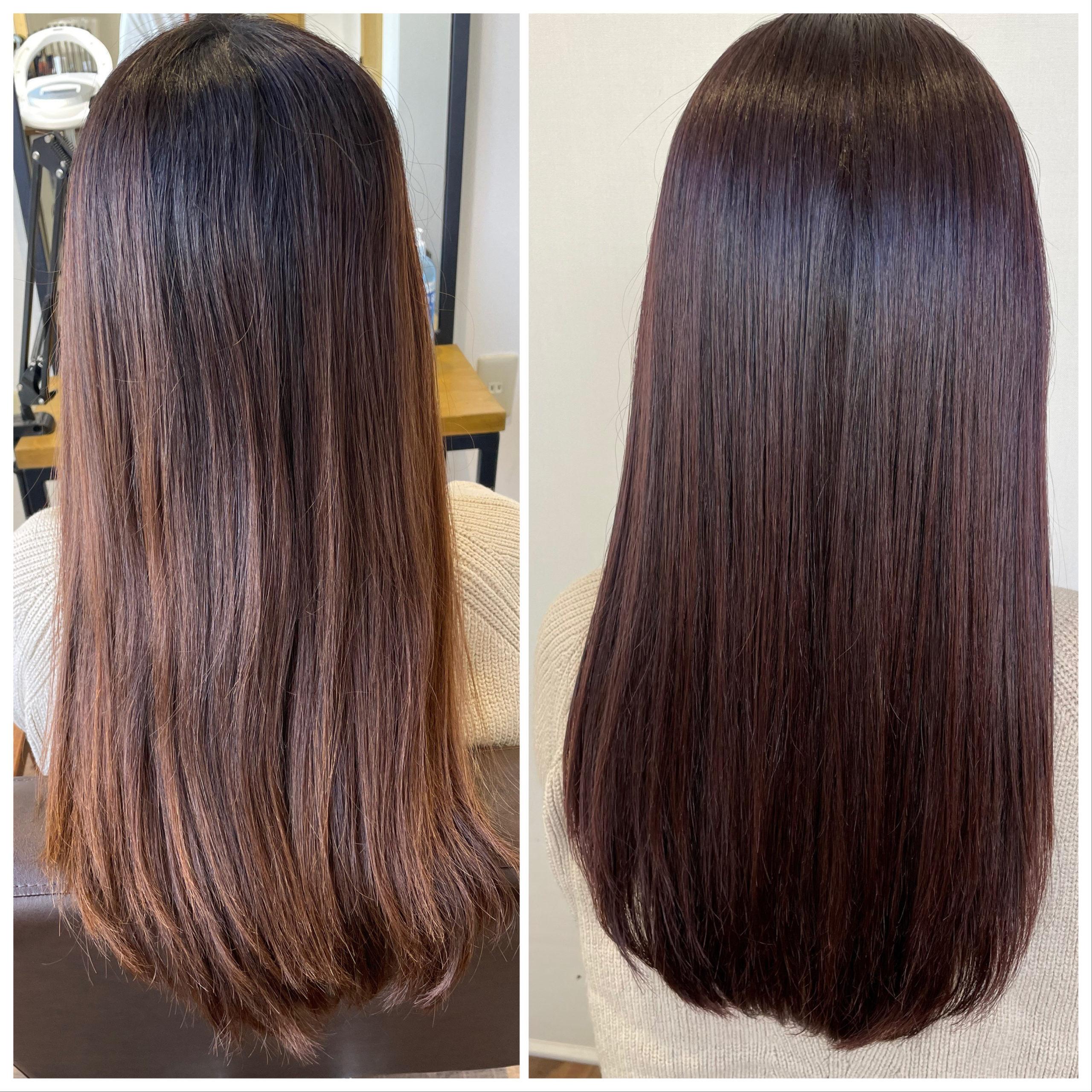 大分県別府市 トリートメントとケアカラーの組み合わせで極上のツヤ髪 ローズレッドのヘアカラー ビフォーアフター