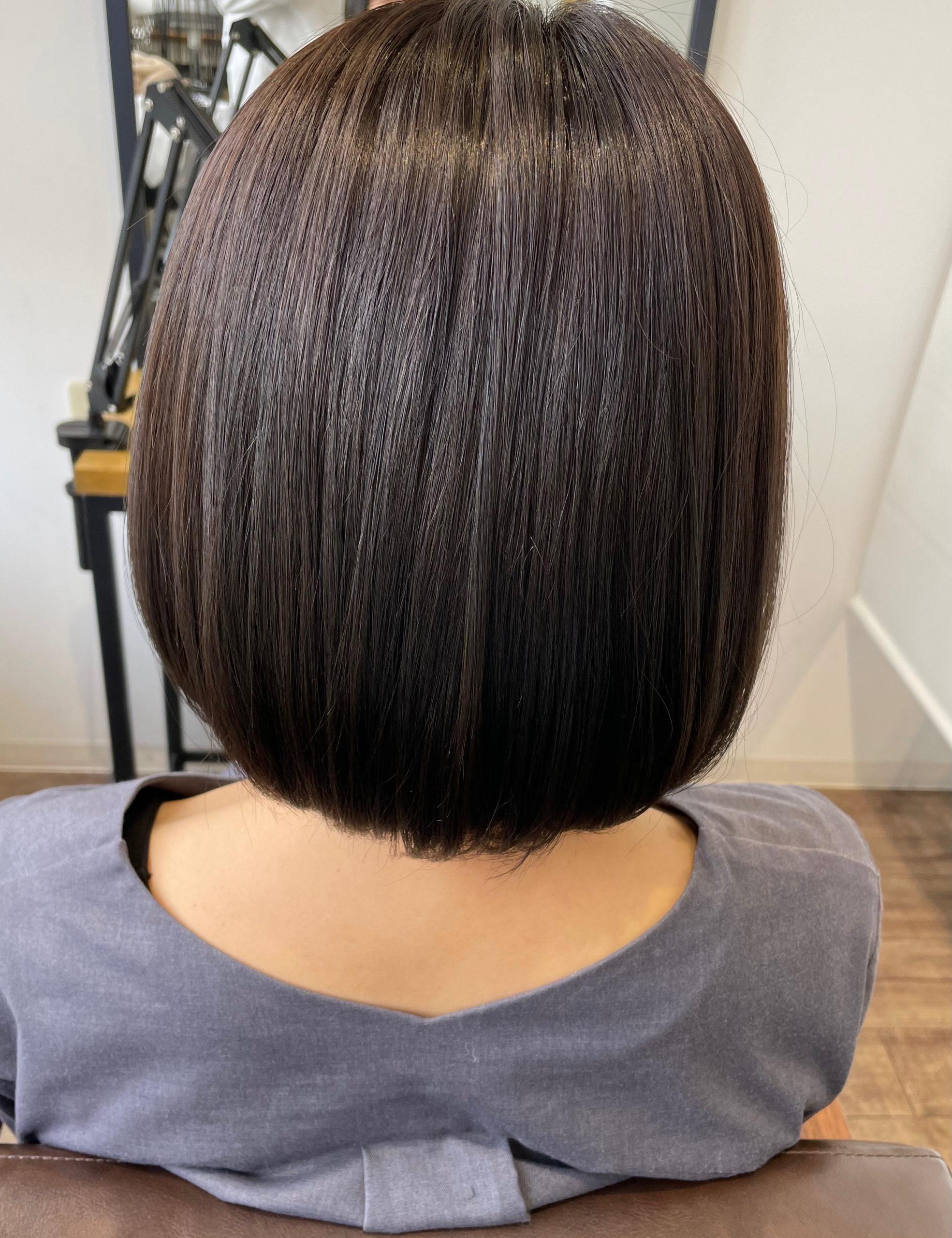 大分県別府市 髪の毛のオレンジみを消してアッシュブラウンの艶髪ヘアカラー アフター