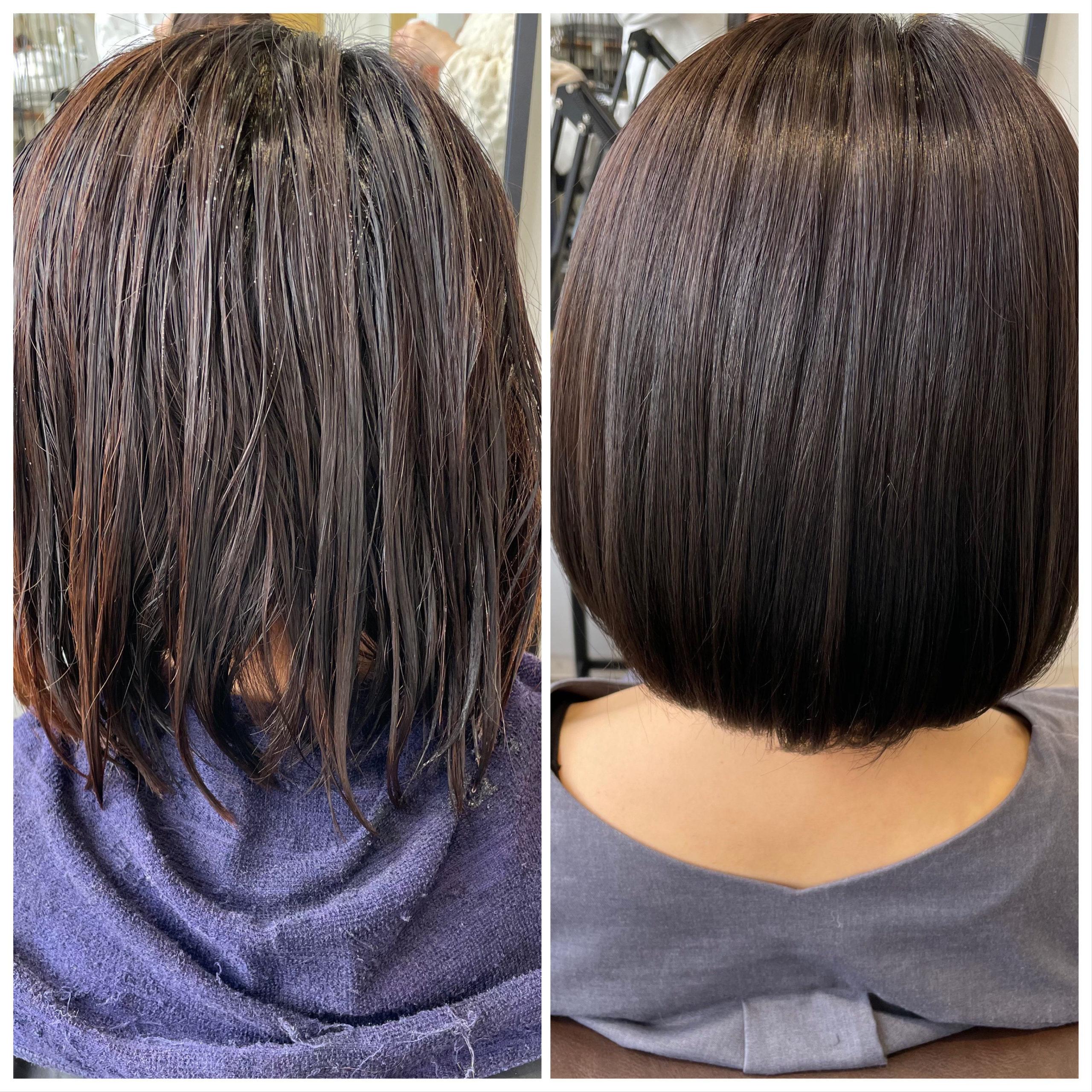 大分県別府市 髪の毛のオレンジみを消してアッシュブラウンの艶髪ヘアカラー ビフォーアフター