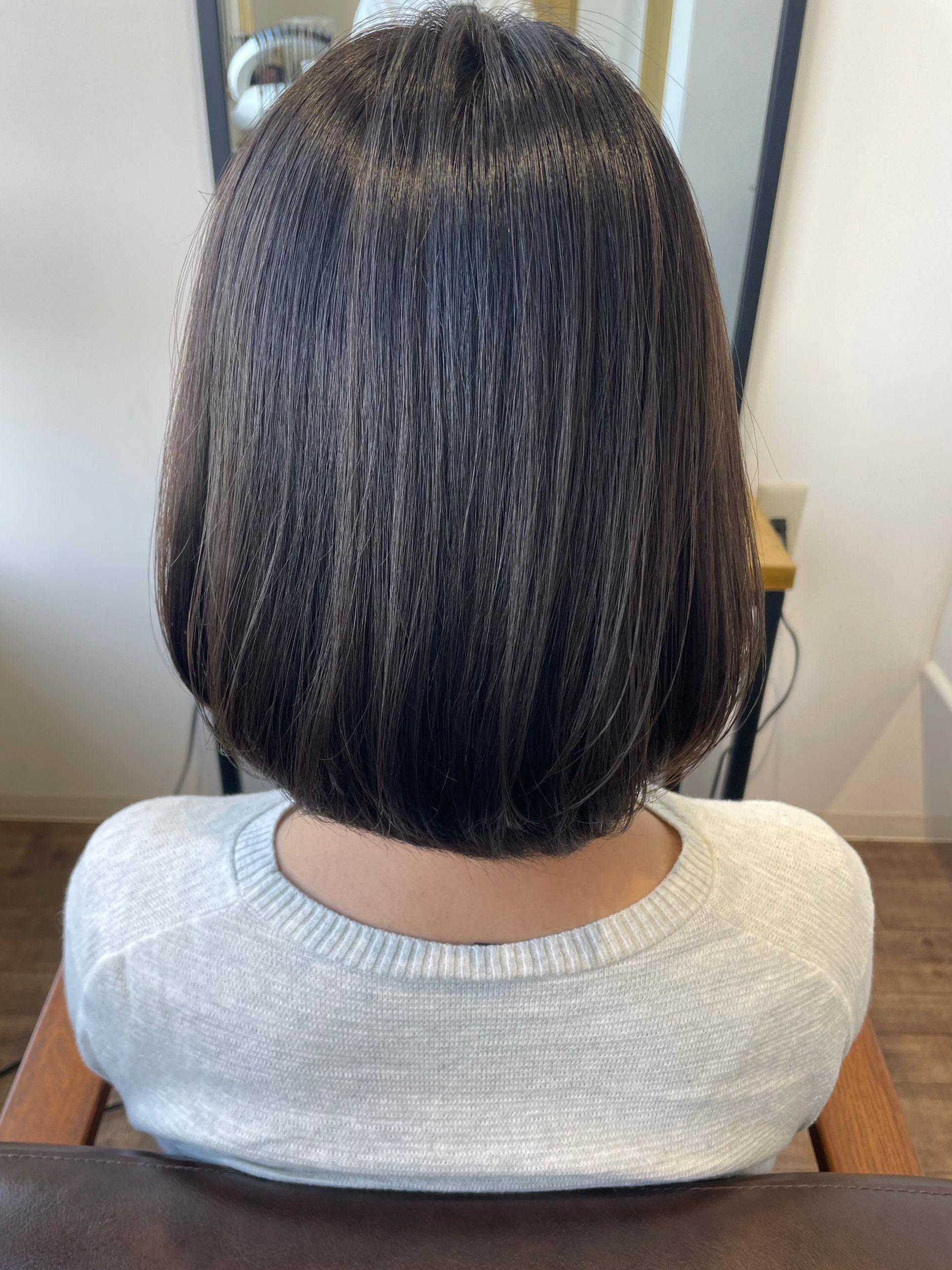 大分県別府市 髪の毛を柔らかく見せたい方にオススメな透明感グレージュのヘアカラー アフター
