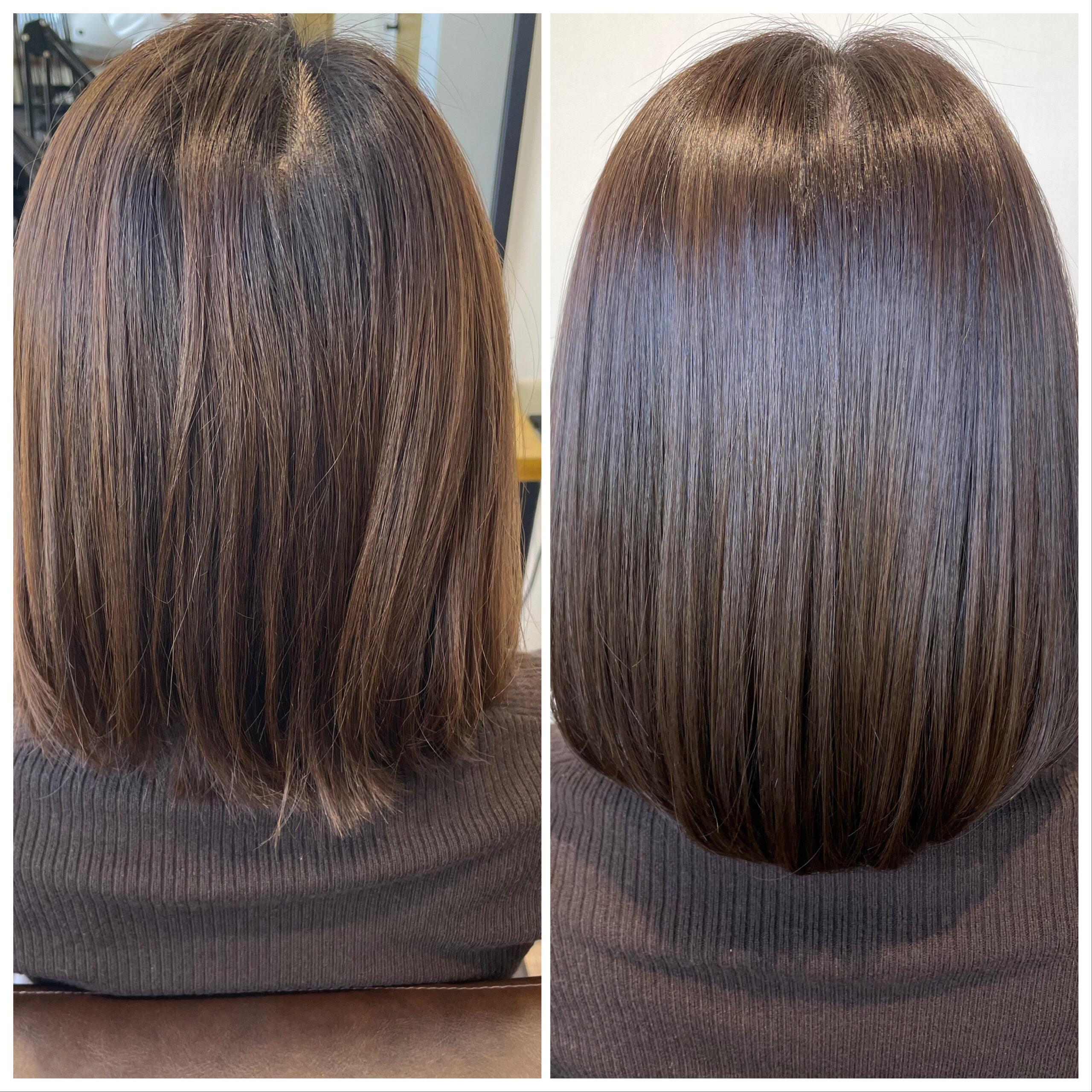 大分県別府市 髪質改善 お試し中の艶髪カラー&トリートメント ビフォーアフター