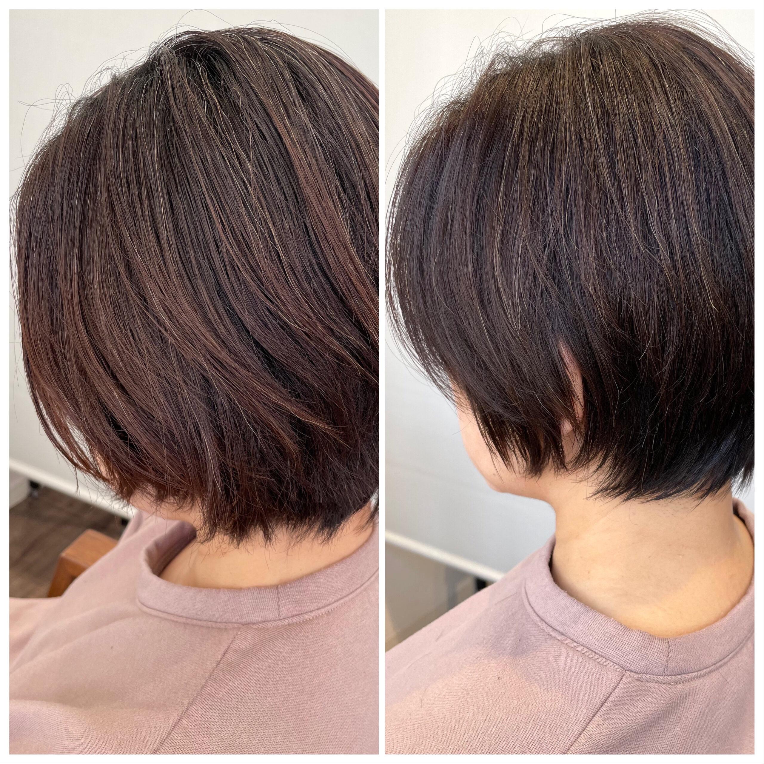 大分県別府市 くせ毛でボリュームが出る髪の毛も質感調整でボリュームダウンのショートカット ビフォーアフター