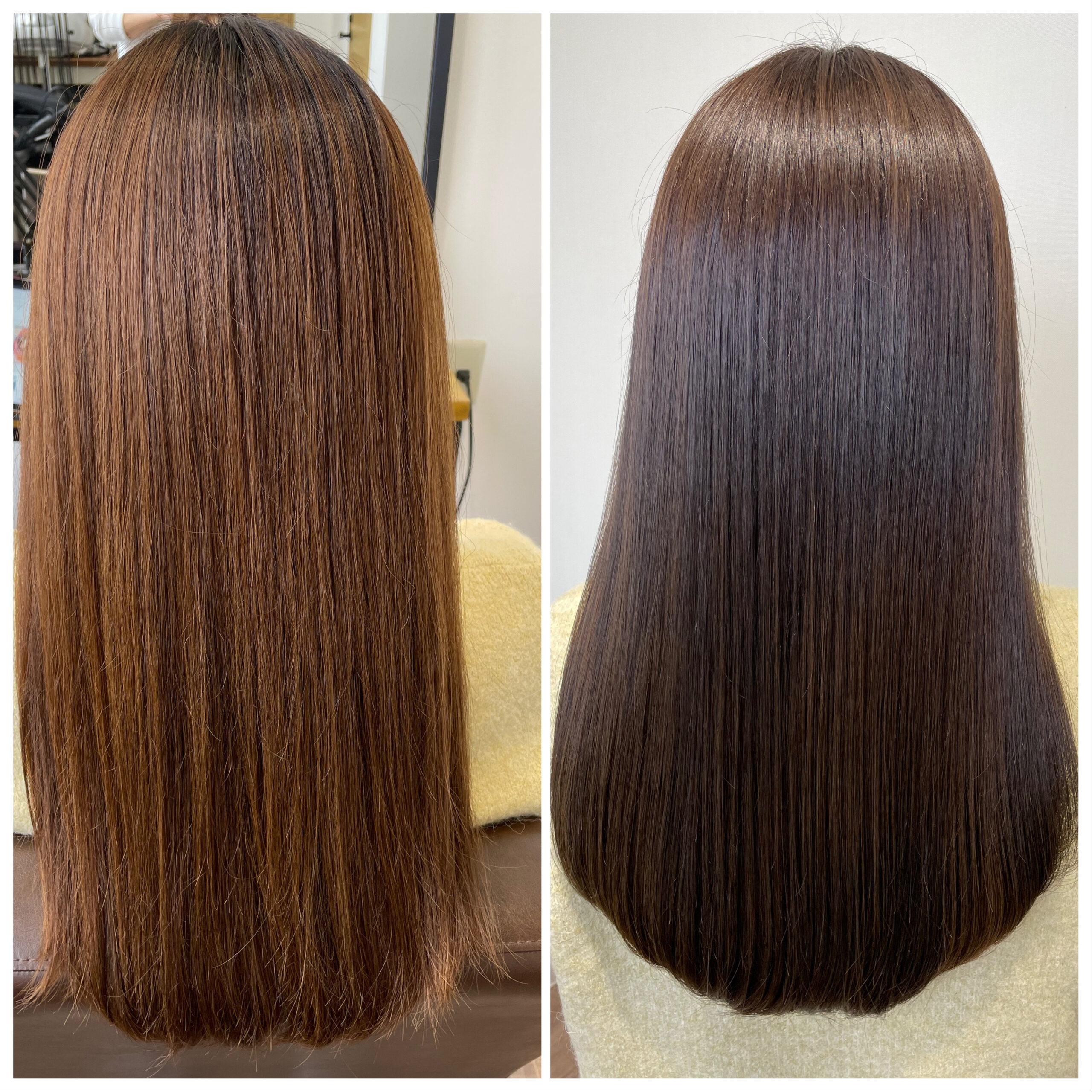 大分県別府市 髪質改善 カラー&トリートメントでツヤツヤな髪の毛 ビフォーアフター