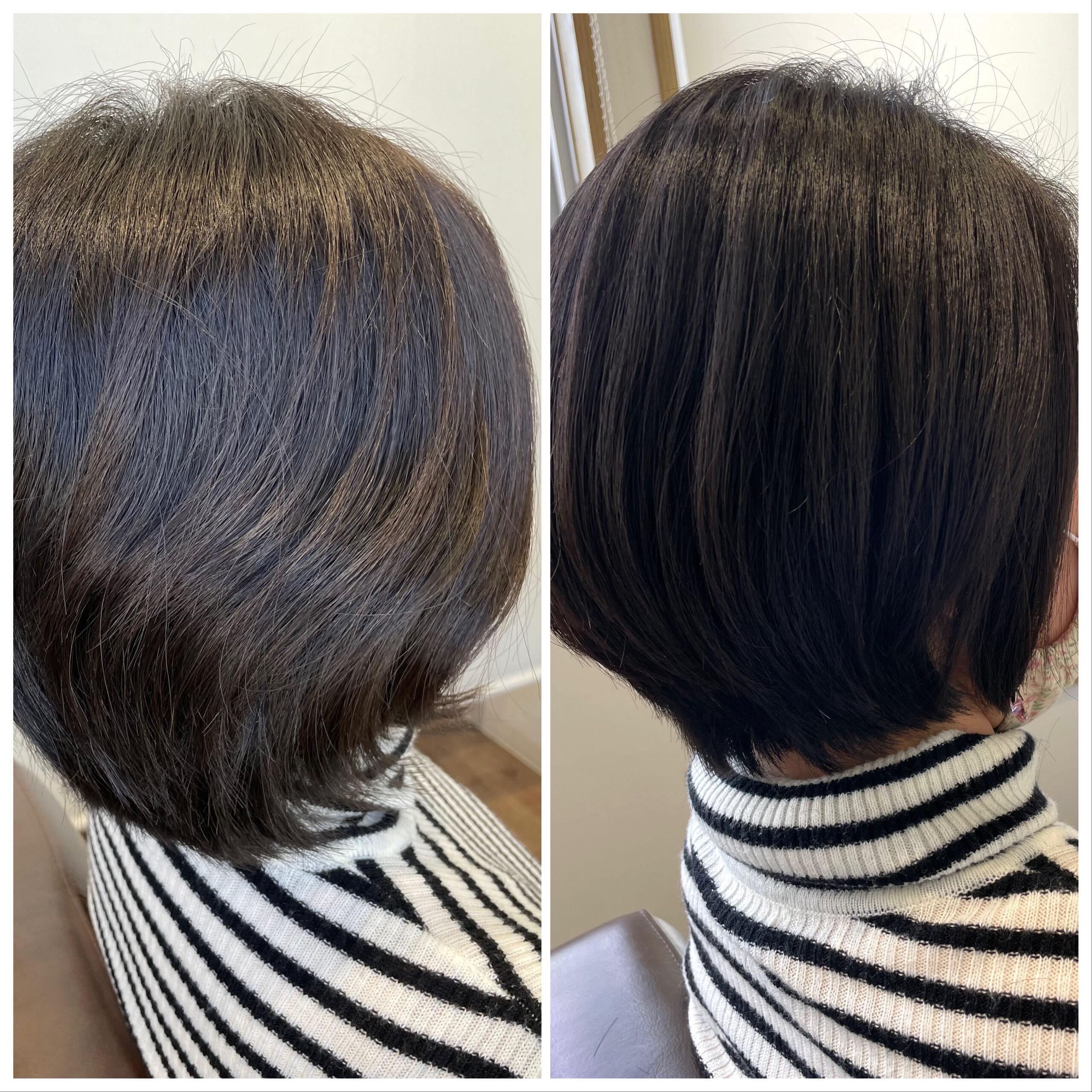 大分県別府市 癖でボリュームが出る髪の毛を弱酸性の縮毛矯正(ストレート)でボリュームダウン ビフォーアフター