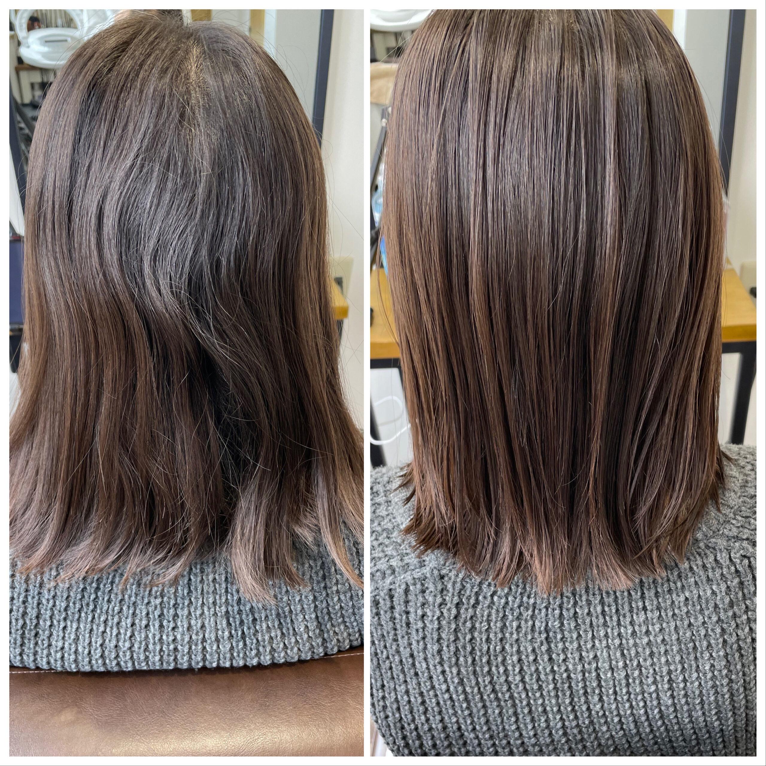 大分県別府市 弱酸性の縮毛矯正でツヤツヤ、サラサラのストレートヘア ビフォーアフター