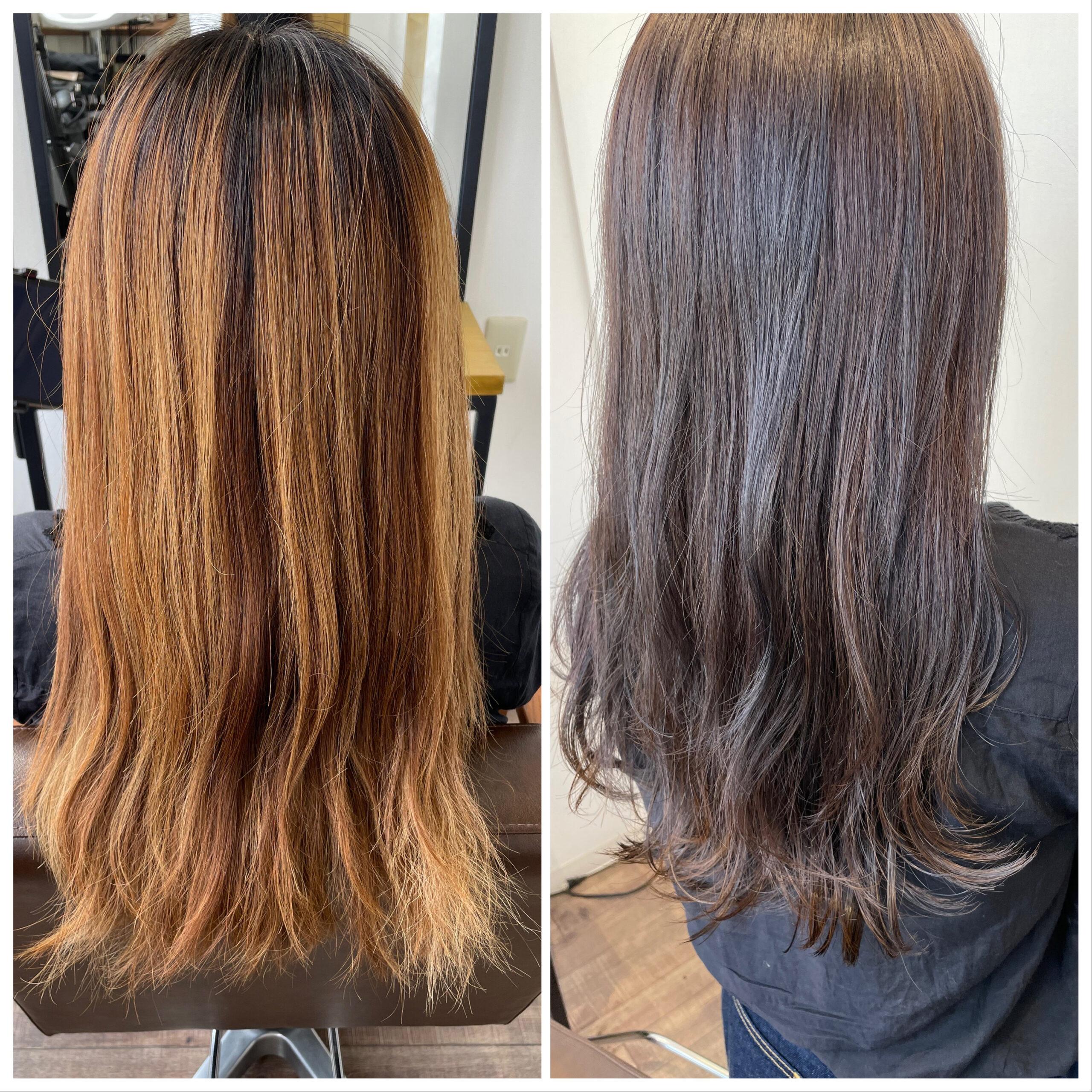 大分県別府市 ブリーチ履歴のある髪の毛を落ち着いたラベンダーベージュのヘアカラーにチェンジ ビフォーアフター
