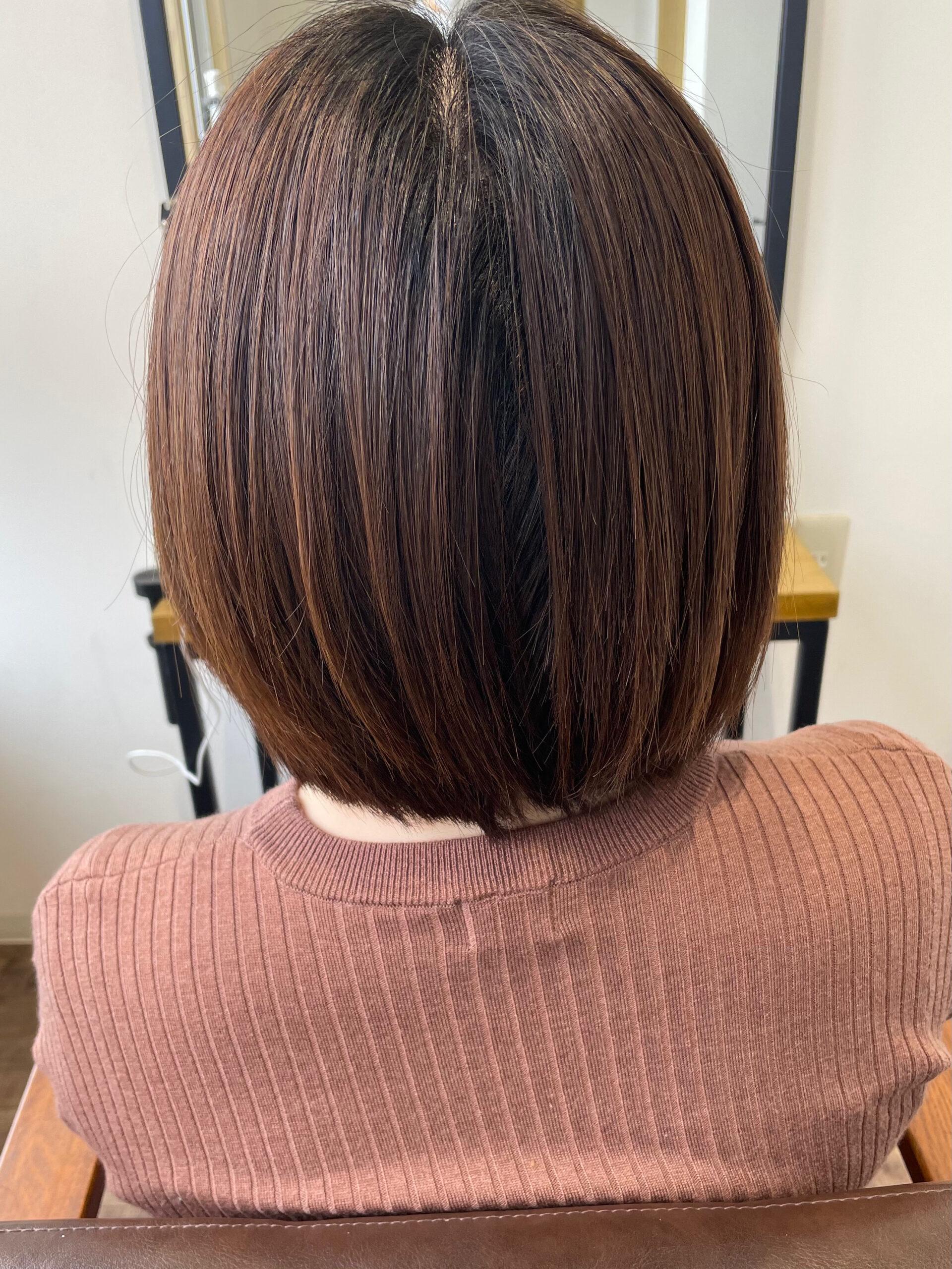 大分県別府市 ツヤ髪になりたい方は弱酸性ストレートとケアカラーの組み合わせが最強です! ビフォー